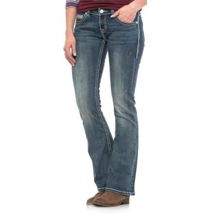 Rock & Roll Cowgirl Rival Aztec Diamond Embroidered Jeans - Bootcut, Low Rise (For Women) in Dark Vintage Wash - Closeouts