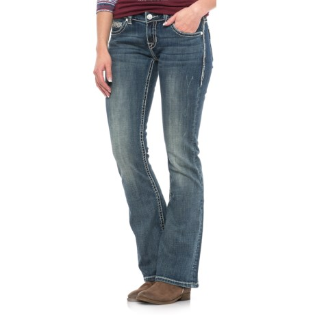 Rock & Roll Cowgirl Rival Aztec Diamond Embroidered Jeans - Bootcut, Low Rise (For Women) in Dark Vintage Wash