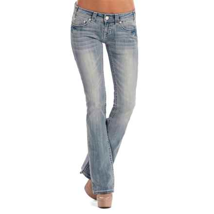 Rock & Roll Cowgirl Rival Crystal Multi-Stitch Jeans - Low Rise, Bootcut (For Women) in Light Vintage - Closeouts