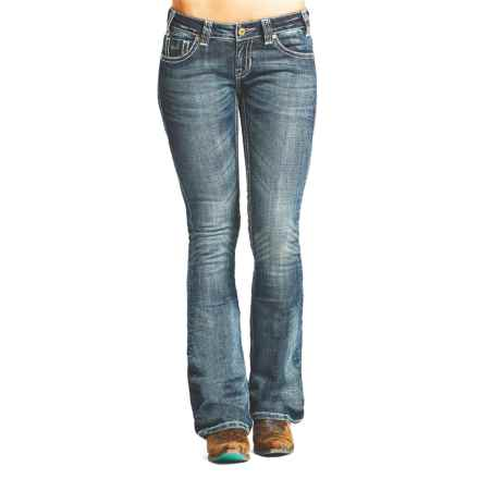 Rock & Roll Cowgirl Rival Crystal Zigzag Embroidery Jeans - Low Rise, Bootcut (For Women) in Medium Vintage - Closeouts