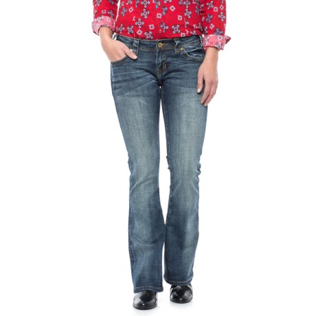 Rock & Roll Cowgirl Rival Diagonal Stitch Jeans - Low Rise, Bootcut (For Women) in Dark Vintage