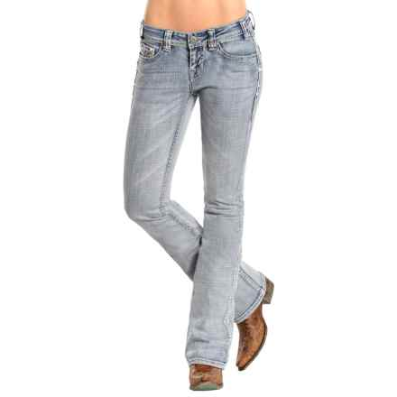 Rock & Roll Cowgirl Rival Jeans - Low Rise, Bootcut (For Women) in Light Wash - Closeouts