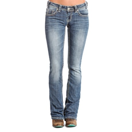Rock & Roll Cowgirl Rival Jeans - Low Rise, Bootcut (For Women) in Medium Vintage Wash