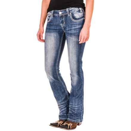 Rock & Roll Cowgirl Rival Multi Chevron Stitch Jeans - Slim Fit, Low Rise, Bootcut (For Women) in Light Vintage - Closeouts