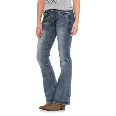 Rock & Roll Cowgirl Rival Raw-Edge Pocket Jeans - Low Rise, Bootcut (For Women) in Dark Vintage Wash - Closeouts