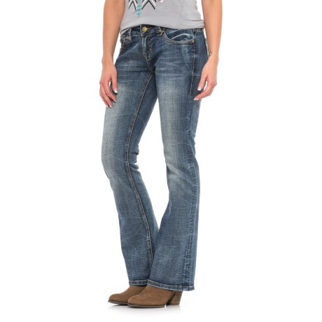 Rock & Roll Cowgirl Rival Raw-Edge Pocket Jeans - Low Rise, Bootcut (For Women) in Dark Vintage Wash