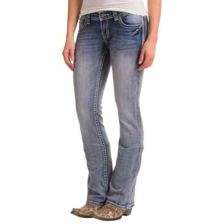 Rock & Roll Cowgirl Rival Rhinestone and Crystal Rivet Jeans - Low Rise, Bootcut (For Women) in Light Wash - Closeouts