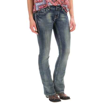 Rock & Roll Cowgirl Rival Rhinestone and Embroidery Bootcut Jeans - Low Rise (For Women) in Medium Vintage - Closeouts