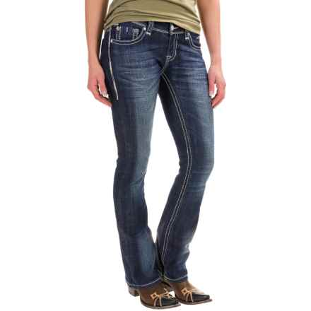 Rock & Roll Cowgirl Rival Rhinestone Bootcut Jeans - Low Rise (For Women) in Dark Vintage - Closeouts