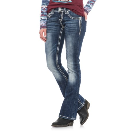 Rock & Roll Cowgirl Rival Rhinestone Embroidered Jeans - Low Rise, Bootcut (For Women) in Dark Vintage Wash