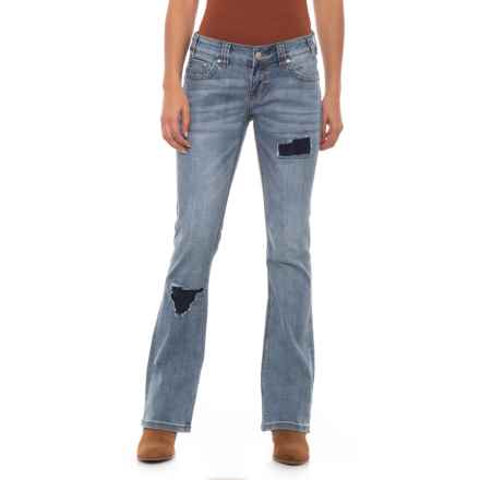 Rock & Roll Cowgirl Rival Rip & Repair Jeans - Low Rise, Bootcut (For Women) in Light Vintage - Closeouts