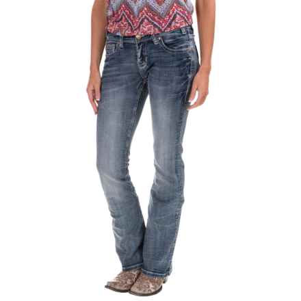 Rock & Roll Cowgirl Rival Triangle Stitch Jeans - Low Rise, Bootcut (For Women) in Dark Vingtage - Closeouts