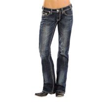 Rock & Roll Cowgirl Rope Stitch Riding Jeans - Bootcut (For Women) in Dark Vintage Wash - Closeouts