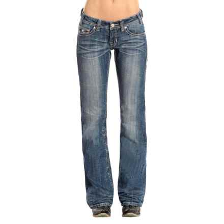 Rock & Roll Cowgirl Rose Rhinestone Riding Jeans - Bootcut (For Women) in Medium Vintage - Closeouts