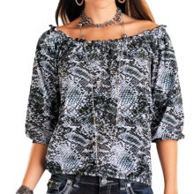 Rock & Roll Cowgirl Ruffled Peasant Shirt - 3/4 Sleeve (For Women) in Multi - Closeouts