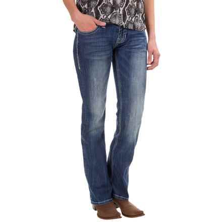 Rock & Roll Cowgirl Running Stitch Bootcut Jeans - Low Rise, Riding Fit (For Women) in Medium Vintage - Closeouts