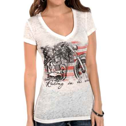 Rock & Roll Cowgirl Screenprint Burnout T-Shirt - Short Sleeve (For Women) in White - Closeouts