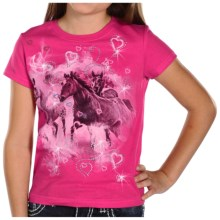 Rock & Roll Cowgirl Screenprint Rhinestone T-Shirt - Short Sleeve (For Girls) in Hot Pink/Running Horse - Closeouts