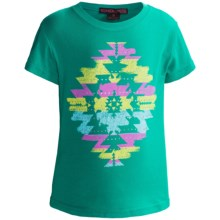 Rock & Roll Cowgirl Screenprint Rhinestone T-Shirt - Short Sleeve (For Girls) in Teal/Aztec - Closeouts