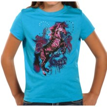 Rock & Roll Cowgirl Screenprint Rhinestone T-Shirt - Short Sleeve (For Girls) in Turquoise/Horse - Closeouts