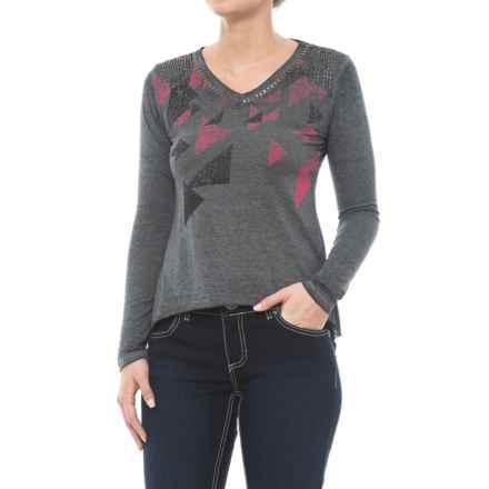 Rock & Roll Cowgirl Screenprint Shirt - Long Sleeve (For Women) in Charcoal - Closeouts