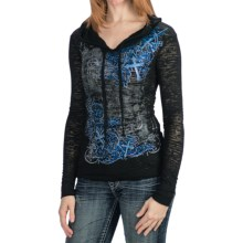 Rock & Roll Cowgirl Scrolling Art Burnout Shirt - Hoodie, Long Sleeve (For Women) in Black - Closeouts