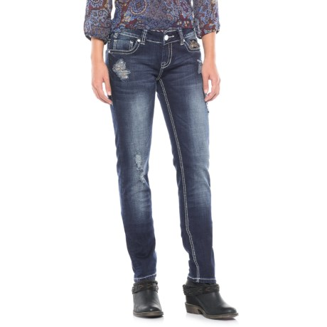 Rock & Roll Cowgirl Sequin Patch Jeans - Low Rise, Skinny Fit (For Women) in Dark Vintage Wash