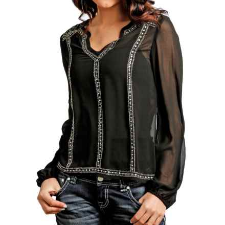 Rock & Roll Cowgirl Sequin Peasant Top - Chiffon, Long Sleeve (For Women) in Black - Closeouts