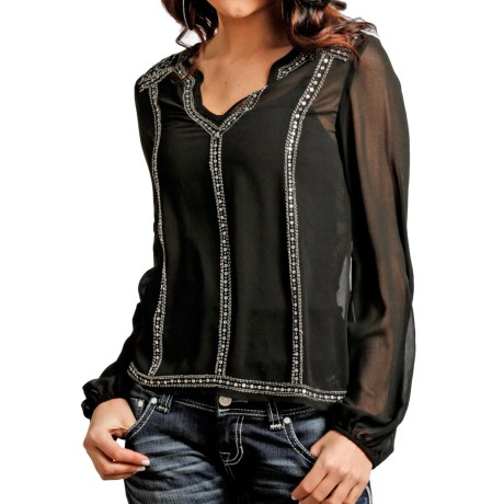 Rock & Roll Cowgirl Sequin Peasant Top - Chiffon, Long Sleeve (For Women) in Black