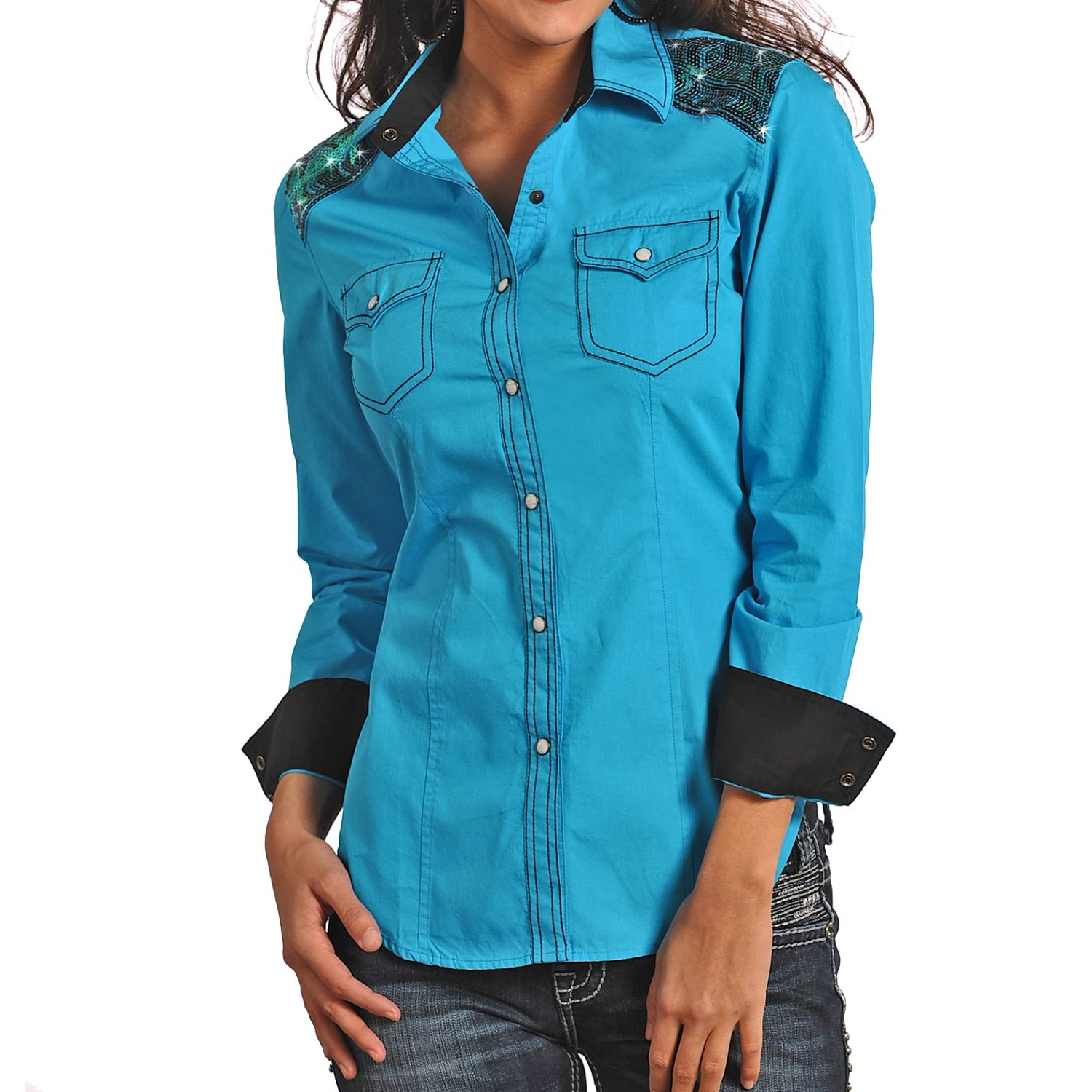 Rock roll cowgirl sequin shoulder shirt for women for Women s turquoise long sleeve shirt