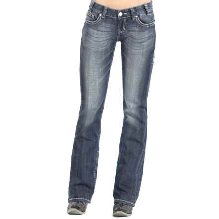 Rock & Roll Cowgirl Silver and Crystal Jeans - Low Rise, Bootcut (For Women) in Medium Vintage - Closeouts