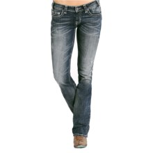 Rock & Roll Cowgirl Silver & Ivory Crossed Lines Bootcut Jeans - Low Rise (For Women) in Dark Vintage Wash - Closeouts