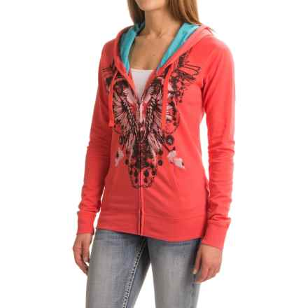 Rock & Roll Cowgirl Skull and Rhinestone Hoodie - Full Zip (For Women) in Rose/Mauve - Closeouts