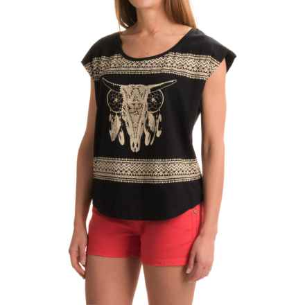 Rock & Roll Cowgirl Skull and Rhinestone T-Shirt - Short Sleeve (For Women) in Black - Closeouts