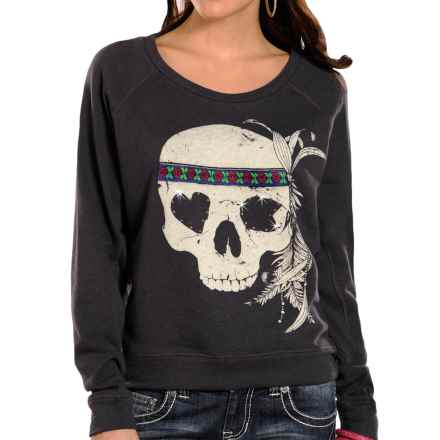 Rock & Roll Cowgirl Skull-Print Shirt - Long Sleeve (For Women) in Charcoal - Closeouts