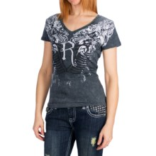 Rock & Roll Cowgirl Snow Crush T-Shirt - Short Sleeve (For Women) in Charcoal - Closeouts