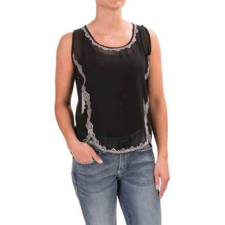 Rock & Roll Cowgirl Southwest-Embroidered Tank Top - Semi Sheer (For Women) in Black - Closeouts