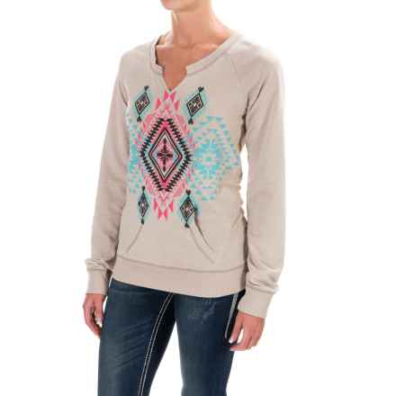 Rock & Roll Cowgirl Split Neck Aztec Print Sweatshirt (For Women) in Aztec Print - Closeouts
