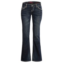 Rock & Roll Cowgirl Square Pyramid Nailhead Jeans - Low Rise Bootcut (For Women) in Dark Wash - Closeouts
