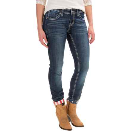 Rock & Roll Cowgirl Stars and Stripes Skinny Jeans - Low Rise (For Women) in Dark Wash - Closeouts