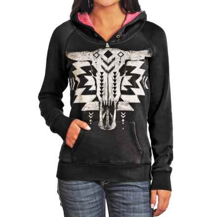 Rock & Roll Cowgirl Steer Head Hoodie (For Women) in Black - Closeouts