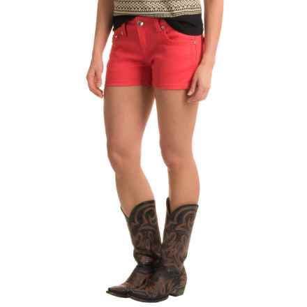 Rock & Roll Cowgirl Stitched and Faceted Jean Shorts - Low Rise (For Women) in Melon - Closeouts