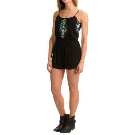 Rock & Roll Cowgirl Strappy Embroidered Romper - Sleeveless (For Women) in Black - Closeouts