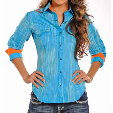 Rock & Roll Cowgirl Striped and Embroidered Western Shirt - Snap Front, Long Sleeve (For Women) in Turquoise - Closeouts