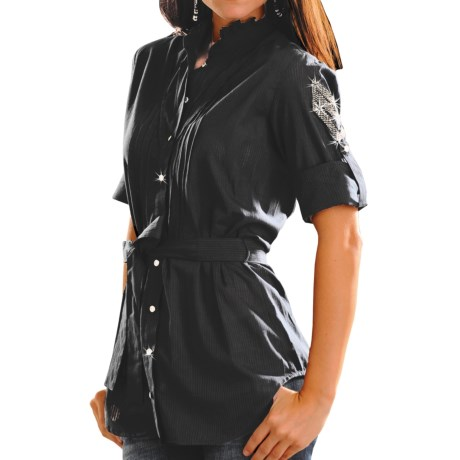 Rock & Roll Cowgirl Striped Voile Western Tunic Shirt - Rhinestone Snap Front, 3/4 Sleeve (For Women) in Black