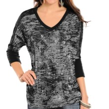 Rock & Roll Cowgirl Studded Lace-Back Shirt - V-Neck, 3/4 Sleeve (For Women) in Charcoal - Closeouts