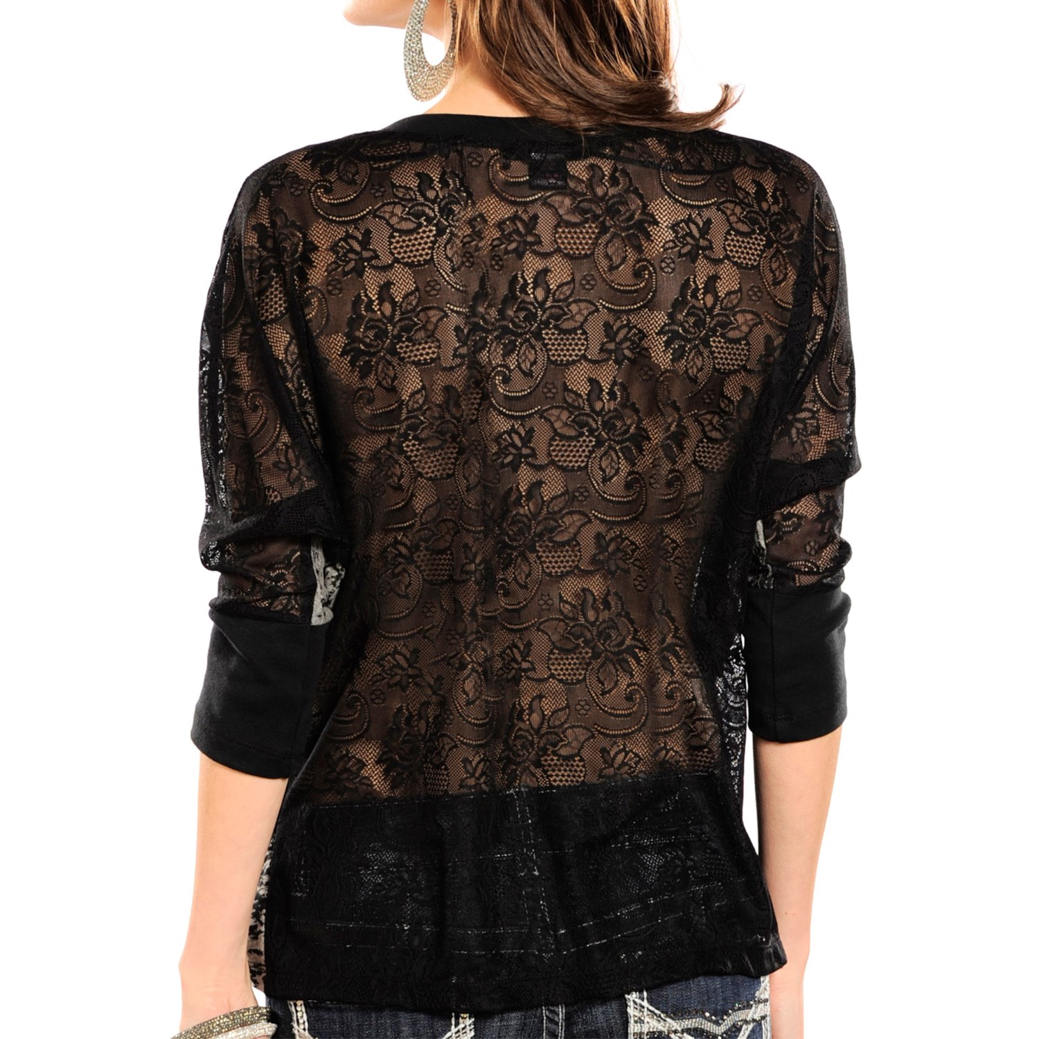 Rock roll cowgirl studded lace back shirt for women for V neck back shirt