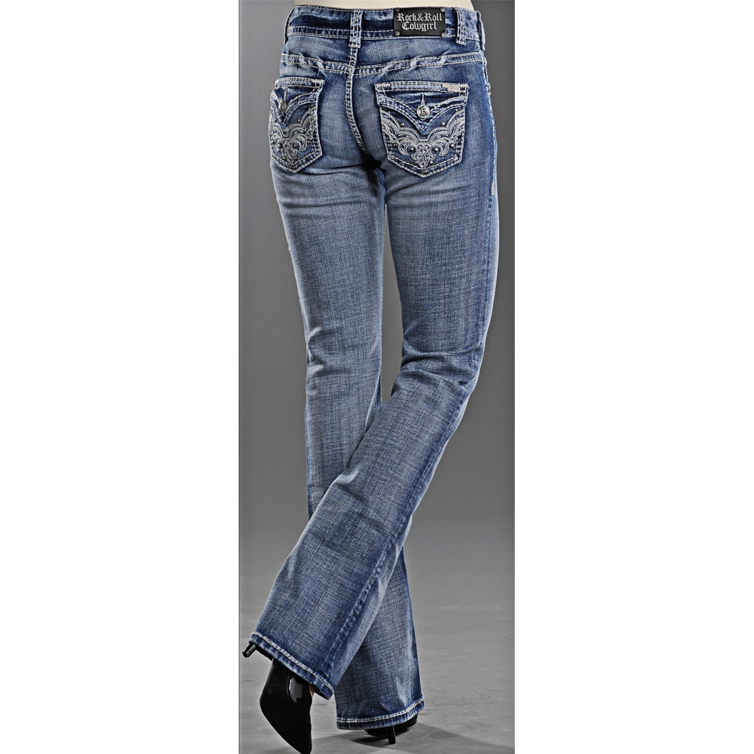 Rock roll cowgirl swirl embroidered flap pocket jeans