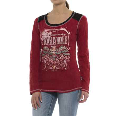 Rock & Roll Cowgirl Thunderbird Graphic T-Shirt - Long Sleeve (For Women) in Red - Closeouts