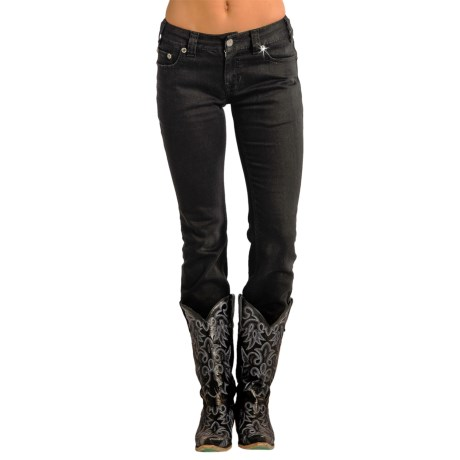 Rock & Roll Cowgirl Tiered Skinny Jeans - Low Rise (For Women) in Black